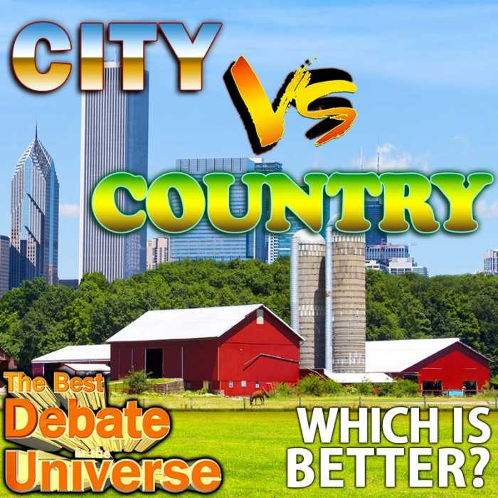 Madcast Media Network - The Best Debate in the Universe - City life or country life? Which is better? We weigh the pros and cons of each this week in a classic debate: CITY VS RURAL?