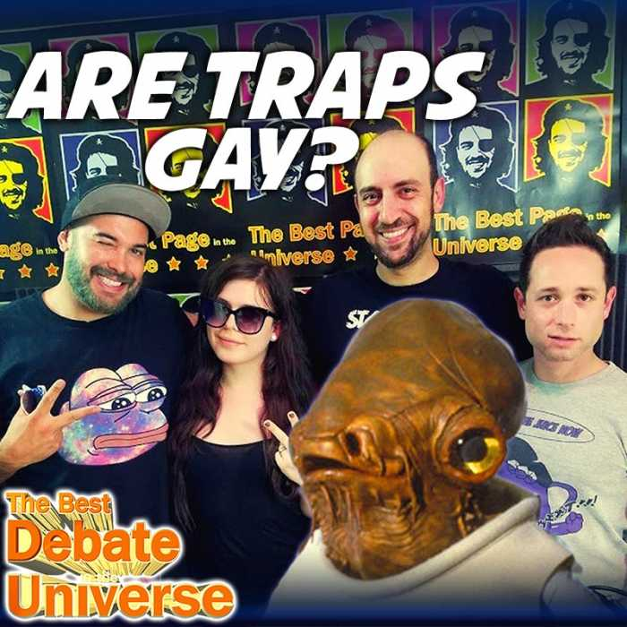 "Madcast Media Network - The Best Debate in the Universe - Urban Dictionary defines a trap as a pre-op transwoman who is so hot that when you find out she's ""packing heat,"" you just don't care. So the debate this week is: ARE TRAPS GAY?"